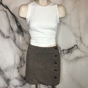 J. Crew Wool Brown Button Side Skirt NWT